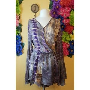 Umgee tie dye romper with flare sleeves- small